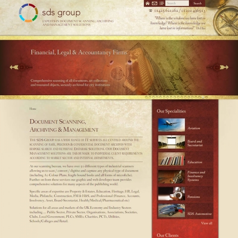 SDS Group web site screenshot