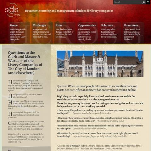 SDS Livery web site screen shot